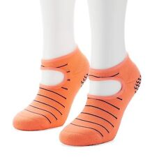 NEW womens ADIDAS 2-pk NO-SHOW SOCKS studio STRIPED climalite GRIPS sunglow