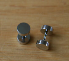 Silver stainless steel barbell fake plug tunnel streacher earrings pair 6 MM