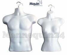 2 Hanging Mannequins: MALE & FEMALE TORSO BODY FORMS * WHITE HARD PLASTIC