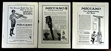 MECCANO TOY AIRCRAFT DERRICK CRANE 3 Antique Model Advertisements 1914 1916 1918
