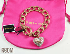 Juicy Couture PAVE BANNER HEART STARTER BRACELET Rose Gold Color
