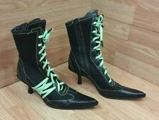 Bronx Women's Size 7 1/2 Black & Neon Green Lace Up Pointy Toe Boots