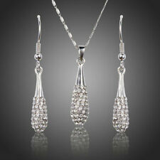 Bridal Jewellery Set Swarovski Element Crystals Chain Pendant Necklace Earrings