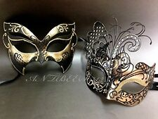 Couple Black & Gold Metal Butterfly and Glitter Masquerade Custom Prom Masks