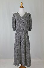 Vintage Laura Ashley Black and White 100% Silk Print Day Dress USA 8 UK 10