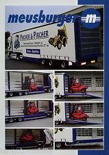 Prospekt Meusburger 3-Achs-Tiefbett-Stapler-Sattelanhänger 2002 brochure Trailer