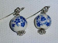 Azul Porcelana Floral pendientes