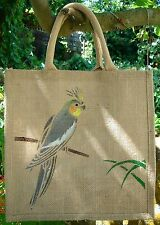 Cockatiel Parakeet grey aviary Jute Bag hand-painted eco