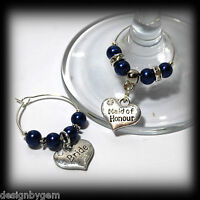 Beautiful Cobalt Blue wedding wine glass charms for top table or favours. decor