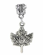 Maple Leaf Canada Canadian Hockey Tree Dangle Charm fits European Bead Bracelets