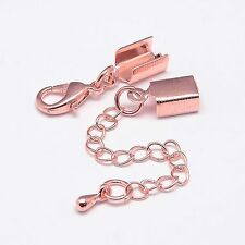 10  x Rose Gold Plated Clasp/Crimp End Findings J1527