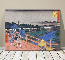 "Beautiful Japanese Landscape Art ~ CANVAS PRINT 8x10"" ~ Hiroshige Bridge In Edo"