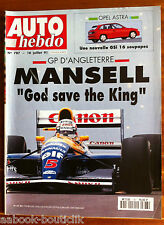 AUTO HEBDO 787 du 16/7/1991; GP d'Angleterre; Mansell/ Opel Astra GSi 16 soupape