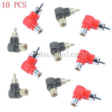 10 Pcs RCA Right Angle Plug Adapters M/F 90 Degree Elbow RCA Female to RCA Male