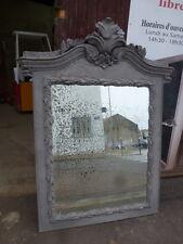 ancien très grand miroir glace trumeau en vieux bois patiné gris 170 cm de haut