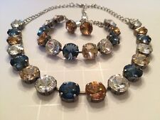 Swarovski Crystal Elements Blue & Tan Antique Silver Cup Chain 12mm Jewelry Set