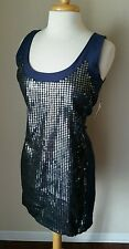 NWT UK Style By French Connection Women's Navy Blue Sequin Sleeveless Dress 8