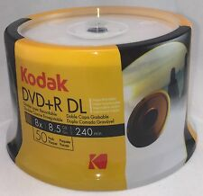 50 KODAK 8X Blank DVD+R DL Dual Double Layer 8.5GB White Inkjet Printable Disc