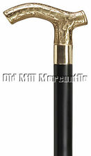 Victorian style brass Derby style handle walking cane with rubber tip
