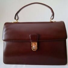 BALLY KELLY STYLE TOP QUALITY CALF LEATHER HANDBAG BROWN MADE IN ITALY