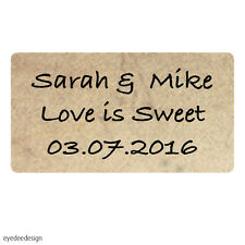 65 x Personalised Mini Wedding Shabby Vintage Rustic Favour Labels Stickers-442