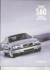 VOLVO S60 DETAILED PRICES,SPECIFICATIONS, COLOURS,ACCESSORIES BROCHURE OCT. 2000