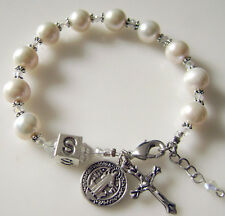 REAL PEARL & WHITE CRYSAL GIFT BRACELET ROSARY CROSS PERSONALISED NAME & BOX
