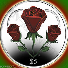 2015 HEART OF ROSES .999 SILVER Proof $5 Color 12g Coin BRITISH VIRGIN ISLANDS