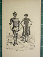 c1890 ANTIQUE PRINT ~ KAFIR MAN & WOMAN NATIVES