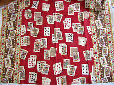 """SCALAMANDRE LINEN FABRIC """"Royal Flush"""" Card Screenprint 56""""W BTY Red Brown Ivory"""