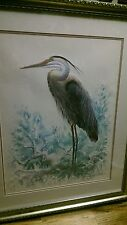 Richard E. Williams signed artist proof heron watercolor
