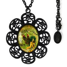 Black Absinthe Fairy Vintage Victorian Gothic Nouveau Glass Filigree Necklace