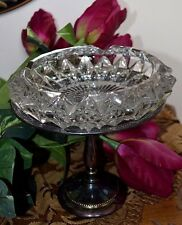 Vintage Clear Crystal Ashtray, Italy, on Sheffield Silver Plated Pedestal Stand