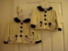 Lot of 2 Fuzzy Wear Lamb Sheep Baby Girls Jacket Coat size 18-24 Mo Ivory Black
