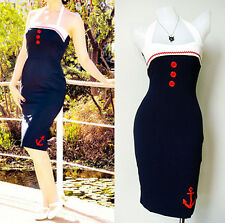 Vintage 50s Pencil Pin up dress Nautical Sailor Rockabilly EMO BLUE New Sz M