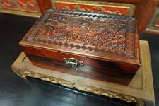 Solid Rosewood Storage Jewelry Box Chinese Motif Brass Accents