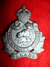 M145 - The Algonquin Regiment KC Cap Badge - Canada WW2