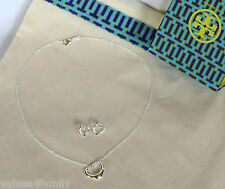 Lot (3) 1-Tory Burch dust bag + 925 Silver Necklace + Set Earrings Charms NEW tb