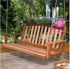 5 ft Wooden Porch Swing Bench Outdoor Curved Back Deck Backyard Shorea Brown