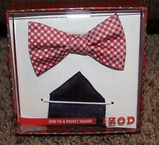 NEW men IZOD 2pc BOW TIE & POCKET SQUARE SET pre-tied NAVY white RED adjustable