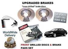 FOR MERCEDES E200 CDi SPORT 2009  FRONT DRILLED BRAKE DISC SET & PAD KIT+ SENSOR