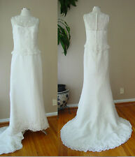 VINTAGE LADY ELEANOR DAVID'S BRIDAL PEARL SEQUIN IVORY WEDDING DRESS GOWN 10