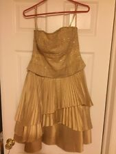 NWOT JENNIFER JANE GOLDEN ALL BEADED TOPLESS PLEATED SEXY LITTLE DRESS FORMAL 8