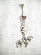 3D FULL WOLF w MOON & STAR DOUBLE DANGLE CHARM 14g LAVENDER PURPLE CZ BELLY RING