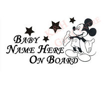 Baby on Board Car Windshiled Oracal Vinyl Decal Mickey with Personalized Name
