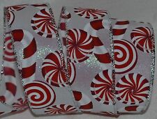 Wired Ribbon~Christmas Red & White Candy Cane~Peppermint~Holiday~Wreath~Gift~Bow