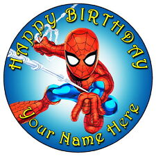 "SPIDERMAN MARVEL SUPERHERO - 7.5"" PERSONALISED ROUND EDIBLE ICING CAKE TOPPER"