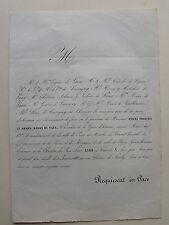 HENRI FRANCOIS LE GRAND BARON DE VAUX, FAIRE PART ORIGINAL DECES 1851