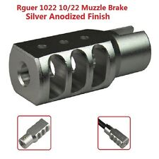 Slip On Set Screw Tightened Ruger 10/22 1022 Muzzle Brake Tanker Style Al Silver