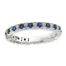 Sterling Silver Cr. Sapphire & Dia Ring Size 10 #6950